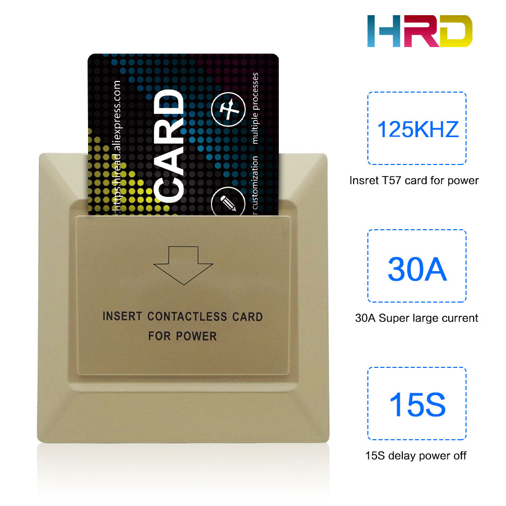 T57 TK4100 Card Energy Saving Gold Switch Motel Hotel School Apartment Rent House Using Electronic Key Card Wall Switch
