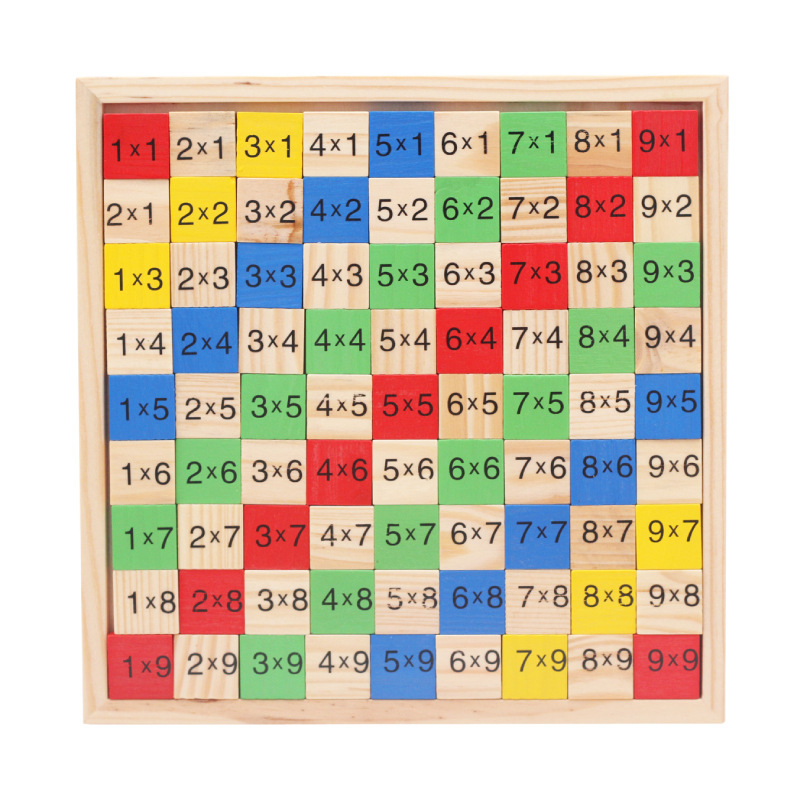 Math Toy Double Side Multiplication Table Pattern Printed Board Children Educational Kids Wooden Math Toys