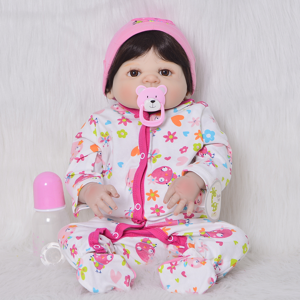 23 inch Full Silicone Vinyl Reborn Baby Doll Girl Playment 57cm Baby Alive Dolls Fashion Xmas Gift Toy For Reborn Menina Bonacas handmade chinese ancient doll tang beauty princess pingyang 1 6 bjd dolls 12 jointed doll toy for girl christmas gift brinquedo