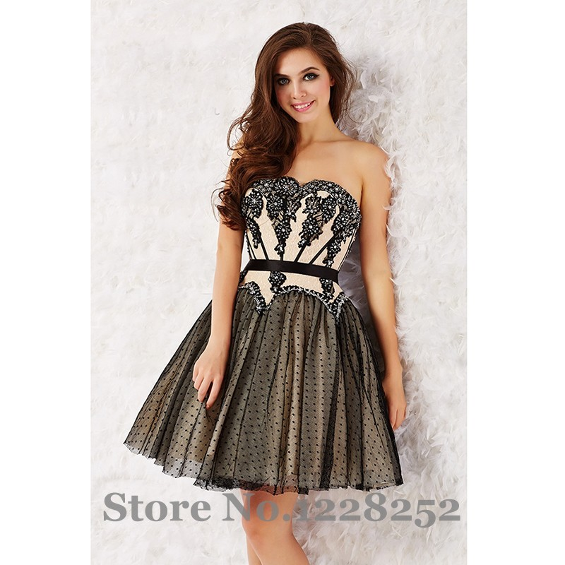 Cute Strapless Short Ivory Venice Lace Party Prom Dress