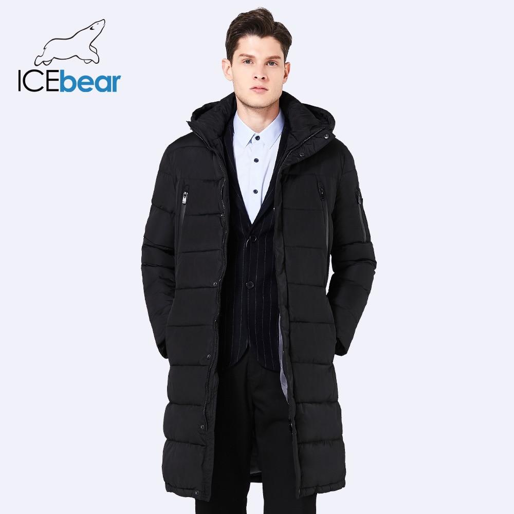 ICEbear 2017 Hiver Long Manteau des Hommes Exquis Bras Poche Hommes Solide Parka Chaud Poignets Conception Respirant Tissu Veste 17M298D