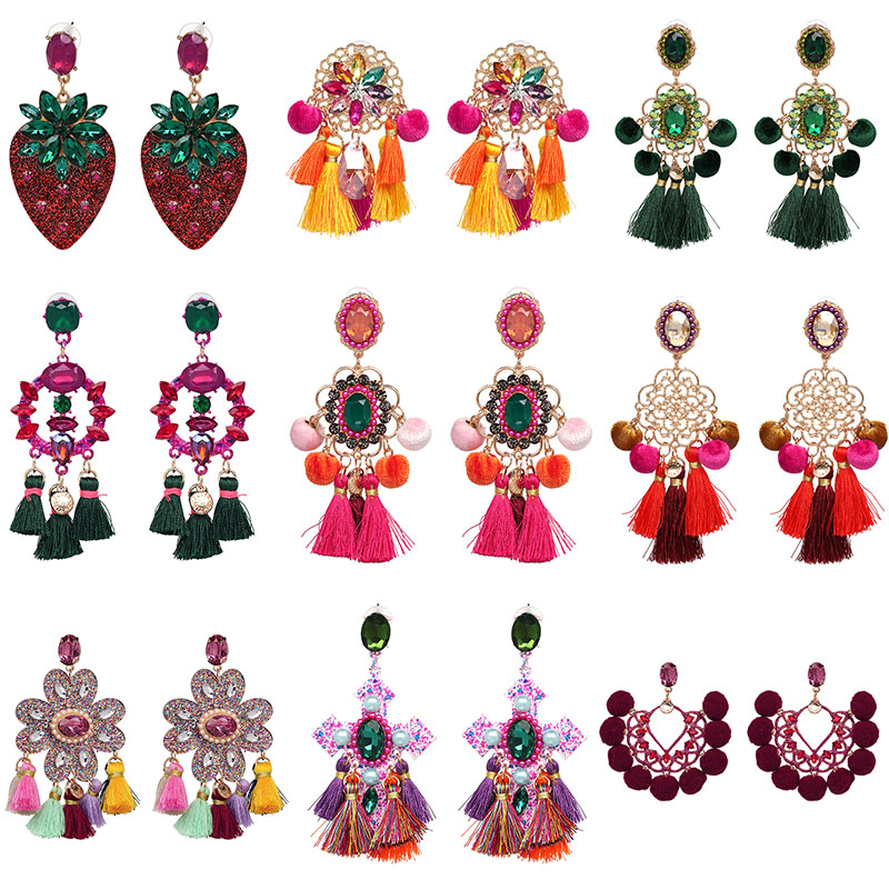 Модные серьги-подвески для женщин, большие висячие серьги ручной работы с кисточками в стиле бохо, ювелирные изделия