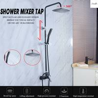 G1/2 Bathroom Black Wall Mounted Rainfall Shower Set Shower Spray Mixer Tap Faucet Mixer Valve Set Single Handle Hot and Cold