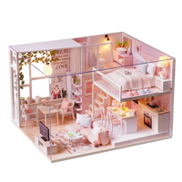 DIY Miniature Loft Dollhouse Kit Realistic Mini 3D Pink Wooden Handmade Doll House Room Toy Home Decoration for Children Gift