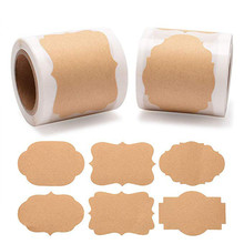 300pcs/roll Natural Kraft Wedding decoration stickers Holiday Present 1.2x2 inch envelope lable Craft Party Supplies