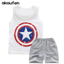 okoufen 2017 baby boy clothes suit best quality 100% cotton children's T-shirt summer kids cartoon infant clothing set body suit