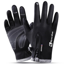 цены Women Men Thicken Warm Cycling Glove Waterproof Windproof Men Bike Gloves Full Finger Touch Sreen Gloves