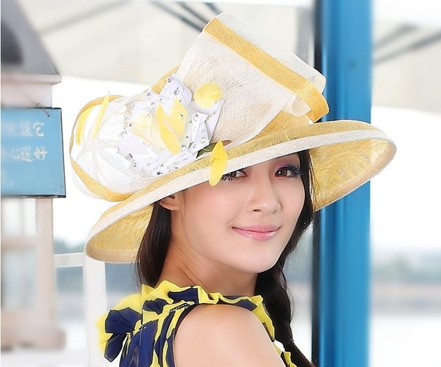 5d89a7e37a3 Women Sinamay Hat Derby Church Wedding Cocktail Evening Party Wide Brim Cap  Flower Dress Sun hat