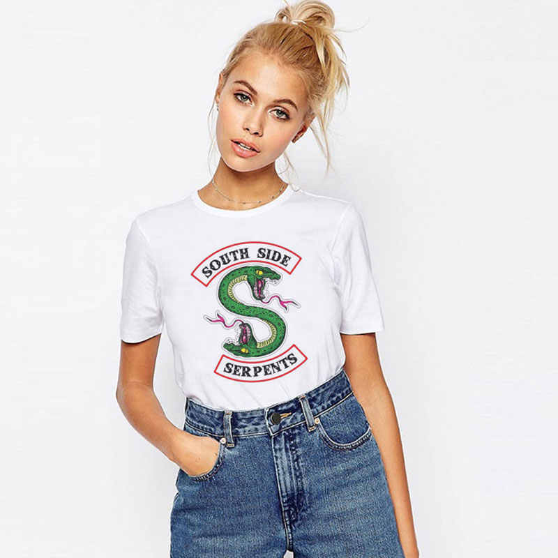 2019 Summer Harajuku Tops Riverdale Snake Print T Shirt Women Vintage Streetwear Ulzzang Tumblr Plus Size Graphic Tees Women
