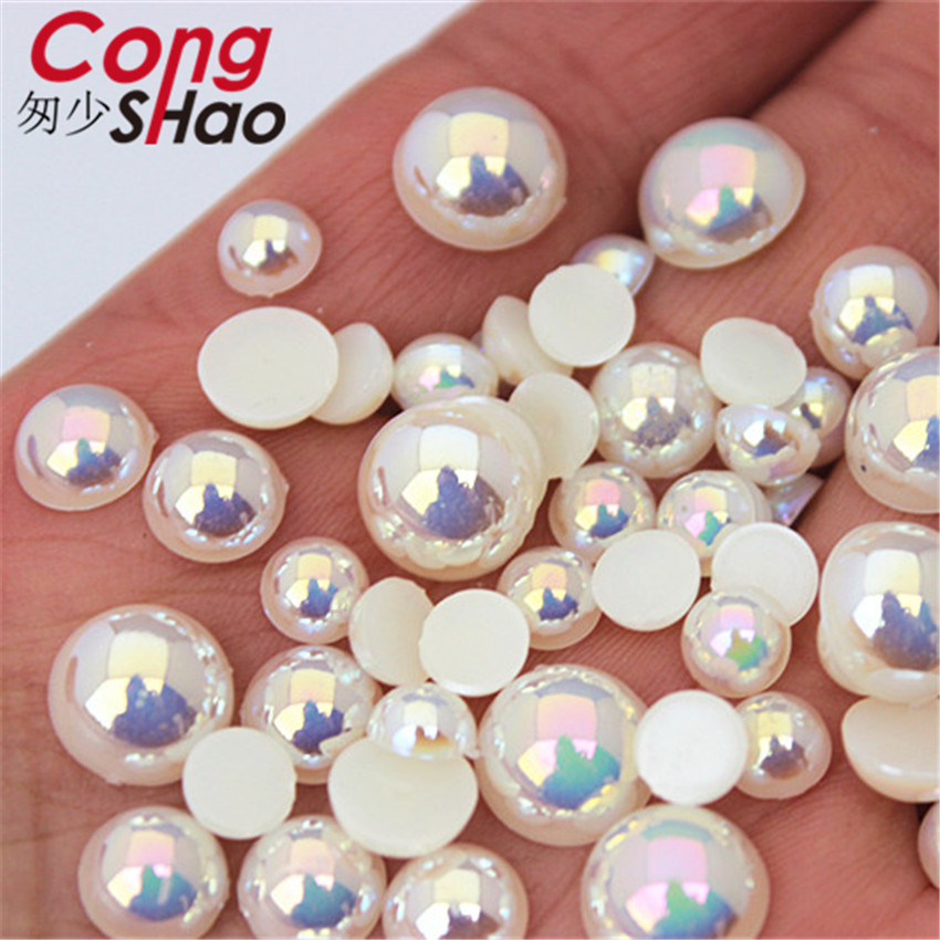 Cong Shao 6/8/10/12mm Flatback AB White Imitation Pearl Beads ABS Acrylic Round Rhinestone Trim DIY Wedding Dress Button WC388