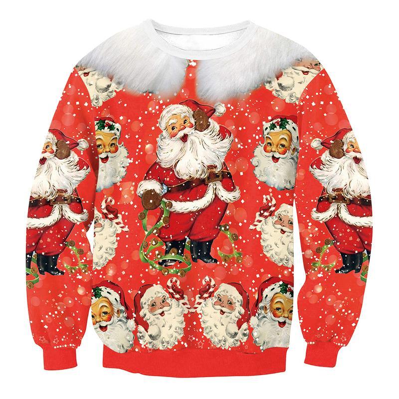 Pullover Women 2018 Female Long Sleeve Santa Claus Digital Printed Sweatshirt O Neck Tracksuit Sweat Coat Casual Sportswear