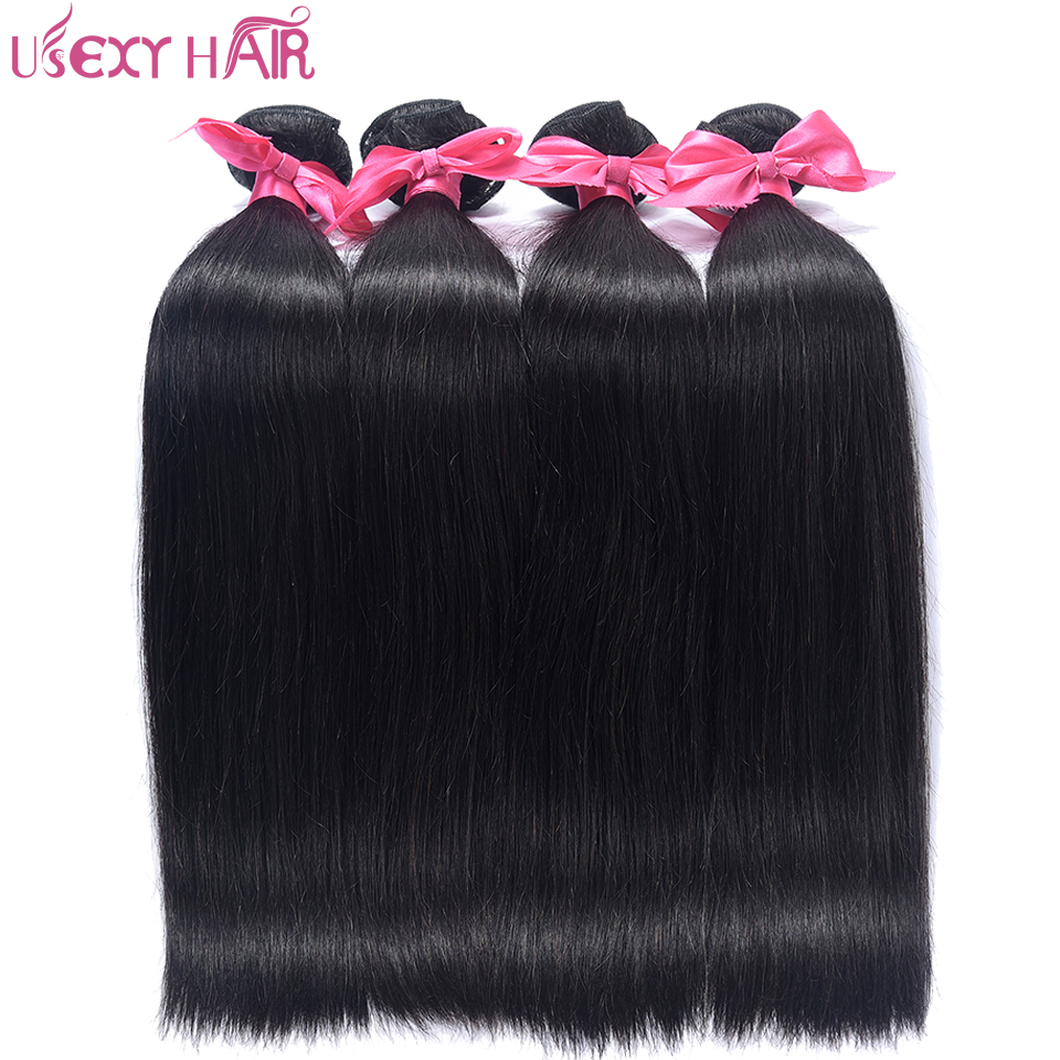 USEXY HAIR 4 Bundles Malaysian Straight Hair 100G/PC Double Weft Non Remy Human Hair Weave Bundles Natural Color No Shedding