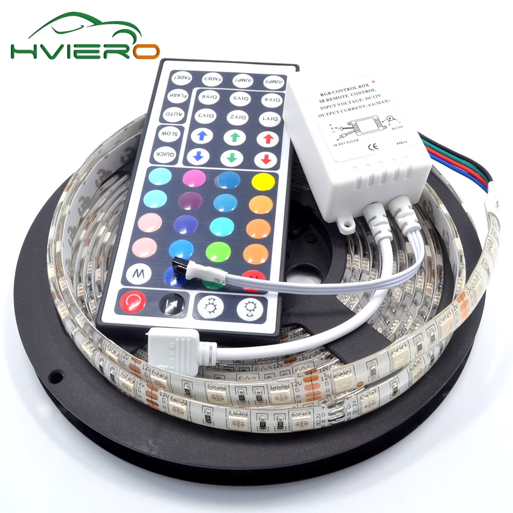 5M RGB LED Strip 5050 Waterproof 300Leds IP65 Flexible Lamp Holiday Light  DC 12V 44Key IR Remote Controller Desk Night Light