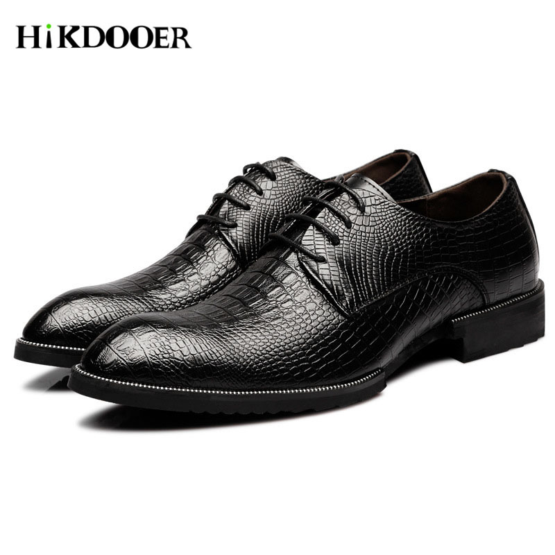 New Arrival Men Formal Shoes Crocodile Skin Design Leather Flat Top Quality Sapato Masculino Social Male Dress Shoes An Enriches And Nutrient For The Liver And Kidney Shoes Formal Shoes