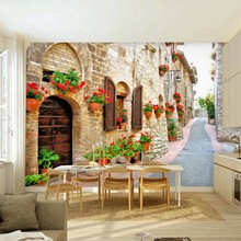 Custom wallpaper European Street Cafe casual restaurants nostalgia large mural custom 3D  backdrop study...