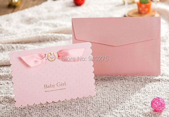 aliexpress : buy 3d cute pink baby girl invitation card baby, Baby shower invitations