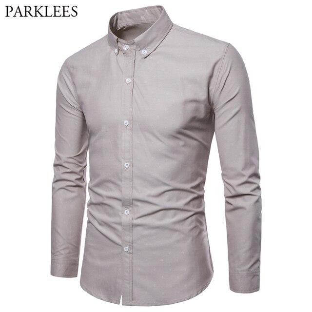 7efcbad3276 2019 Spring Solid Shirt Men Casual Slim Fit Long Sleeve Mens Button Down  Dress Shirts Formal