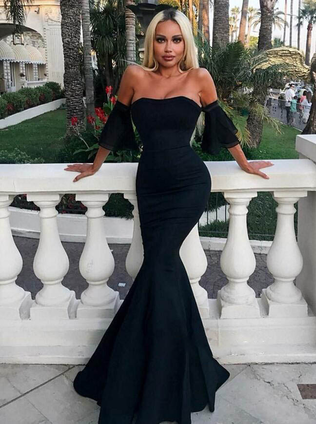 lack Long Prom Gown On Sale Mermaid Sleeveless Prom   Dresses   Sexy Lace Applique Elegant   Evening     Dress