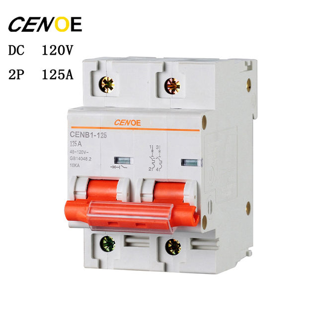 free shipping 2p DC120V 63A 80A 100A 125A DC circuit breaker mcb breaker for global electrically driven vehicle user 2018 newly
