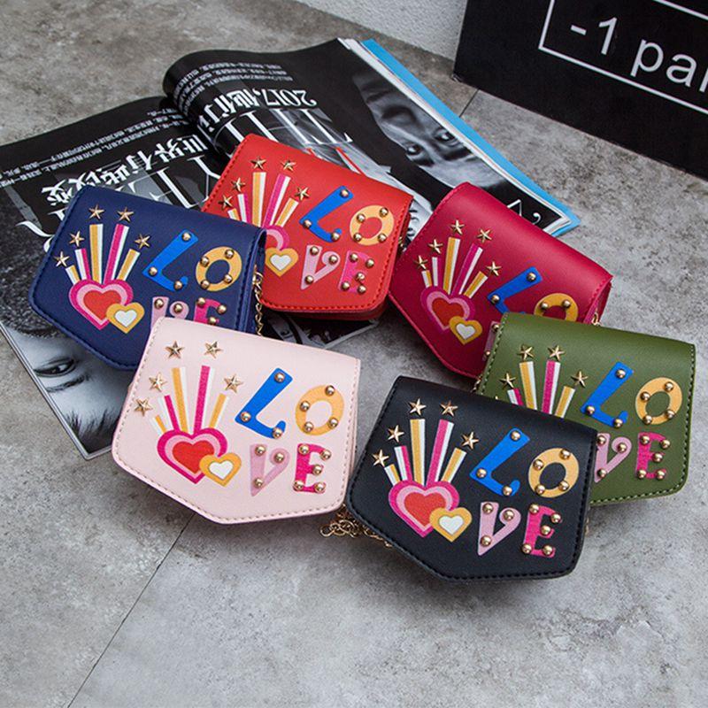 Children Mini Cartoon Print With Rivet Design Cross-body Handbag Fashion Girls Kids PU Shoulder Messenger Bag