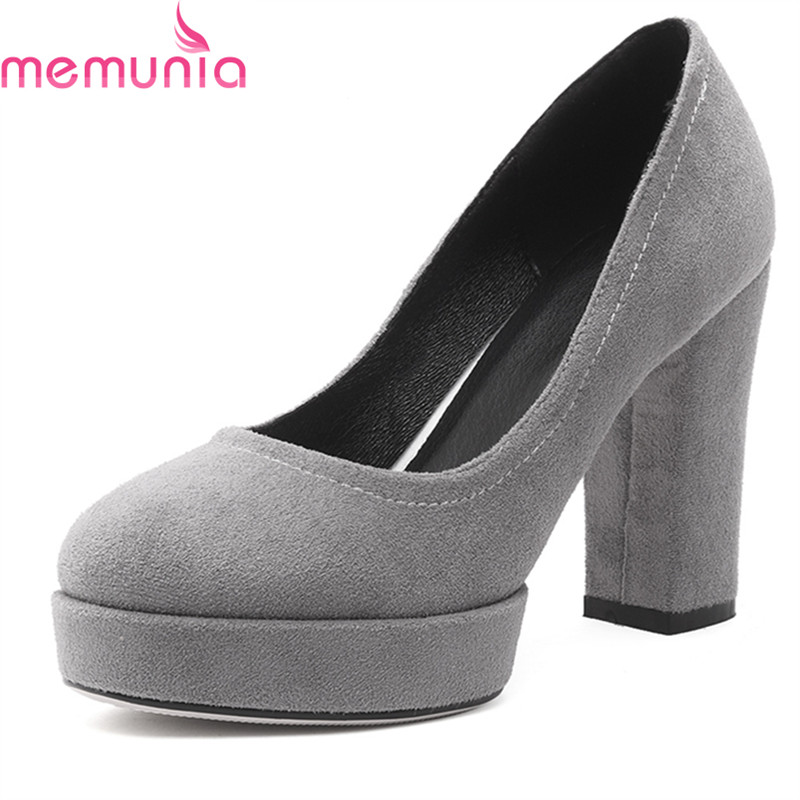 MEMUNIA plus size 2018 spring autumn fashion women pumps thick high heels round toe platform solid black wedding shoes memunia 2017 fashion flock spring autumn single shoes women flats shoes solid pointed toe college style big size 34 47