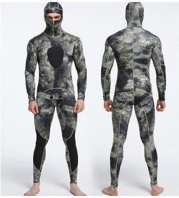 Hommes deux pièces néoprène hiver combinaison avec capuchon Camouflage maillots de bain anti-éruption garde corps complet à manches longues sous-marine BeachDivingSuit