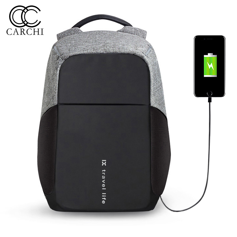 CARCHI New Men Backpack For Teenager 15 inch Laptop Backpacks USB Charge Bag Fashion Male Mochila Travel Back Pack Anti Thief