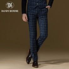 Dandy Homme High Quality 2015 Men Autumn Winter Warm Super Slim Blue Plaid Formal Suits Long Pants Fashion Wedding Groom Pant