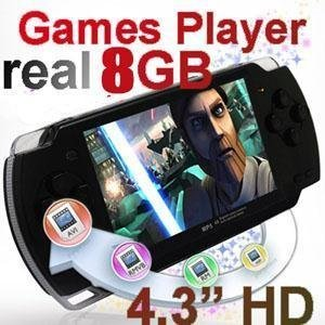 "Free Shipping 4.3"" 8GB Handheld Game Player,Portabe Game Console Player with Camera + 2000 GAMES"