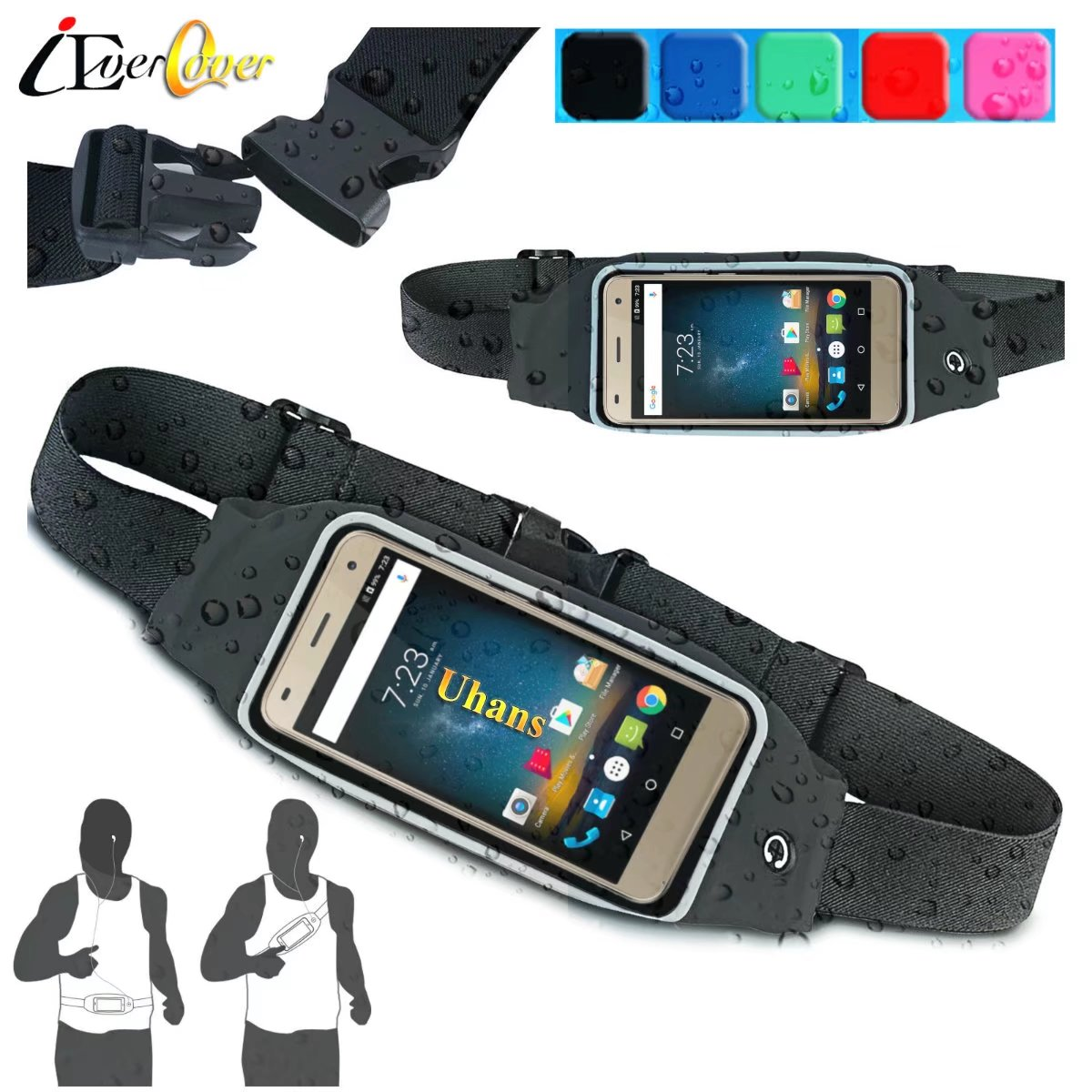 Waterproof Sport Running Fitness Pouch Cover Case for Uhans U300 , Note 4 , A6 Phone Waist Bag Band Capa Fundas pochette étanche pour téléphone