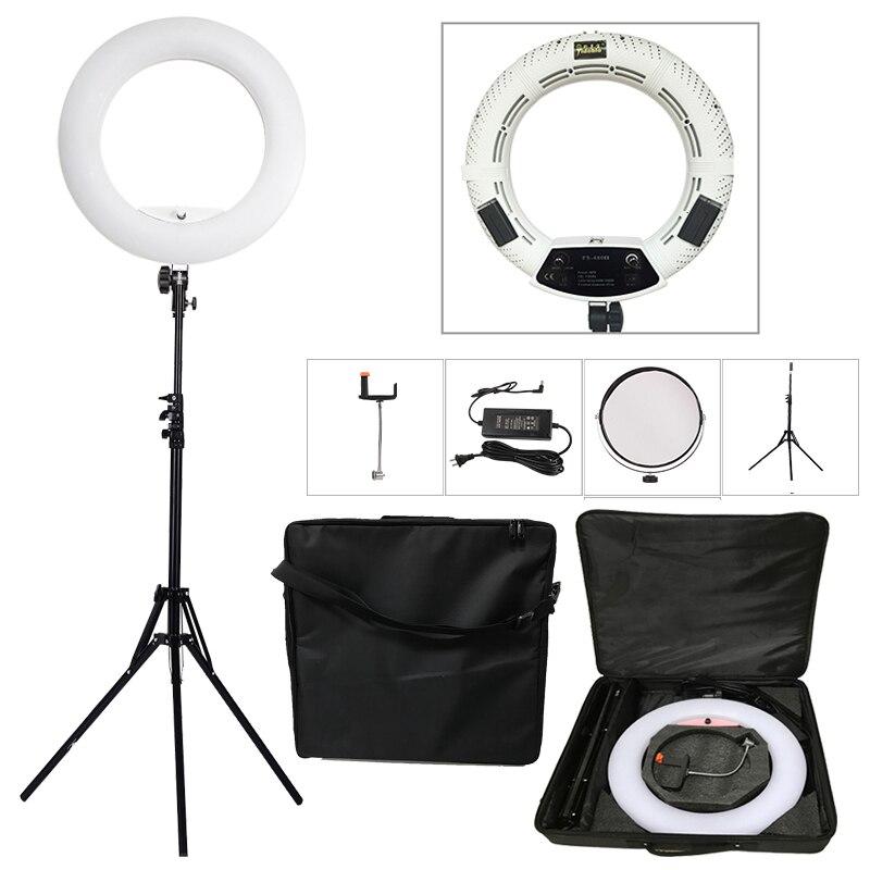 Yidoblo Blanc FS-480II 5500 K Bio-couleur Caméra Photo/Studio/Téléphone/Vidéo 18 ''480 LED anneau de Lumière LED Lampe + 2 M trépied + sac Souple Kit