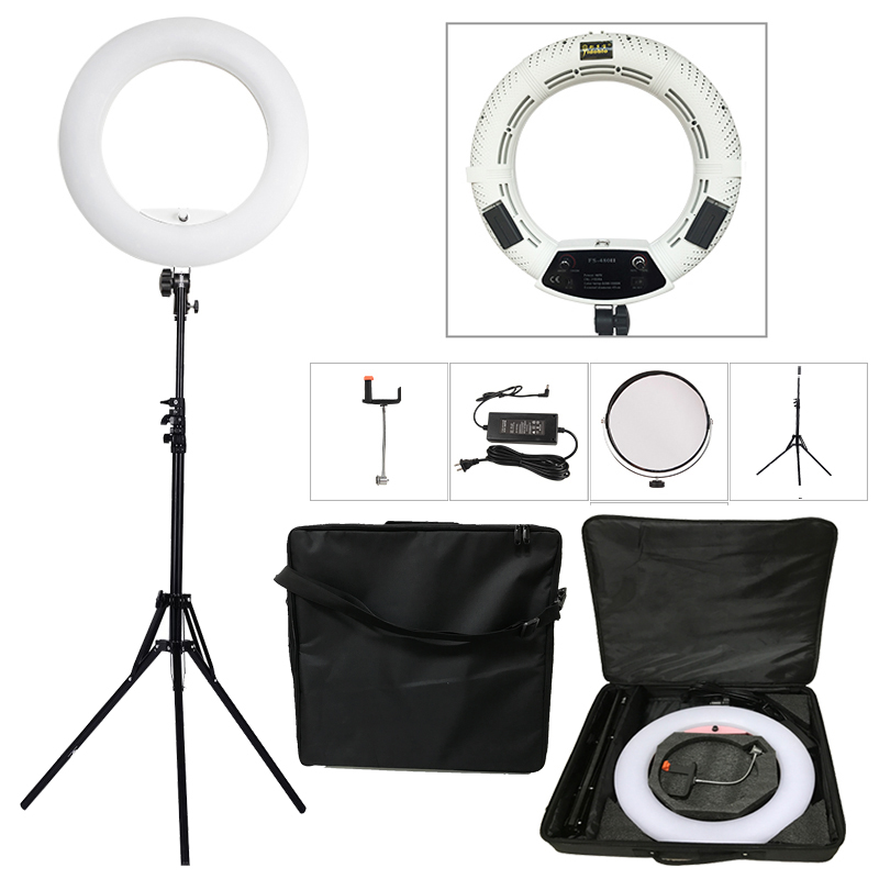 Yidoblo White FS-480II 5500K Bio-color Camera Photo/Studio/Phone/Video 18'' 480 LED Ring Light LED Lamp+ 2M tripod +Soft bag Kit brand yidoblo fd 480ii white pink black photo ring light led video lamp photographic studio lighting 5500k 480led lights