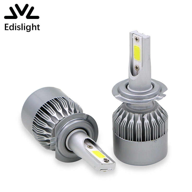 Edislight H7 LED Headlight Bulbs Conversion Kit 72W 7600LM 6000K White Car Low Beam Bulbs Automobile Headlamp Fog Lamp