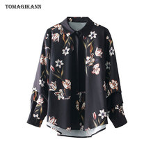 2018 Spring Euro Style Flower Pleat Sleeve Women Blouse Shirts Fashion Turn Down Collar Single Breasted Long Sleeve blusas Tops