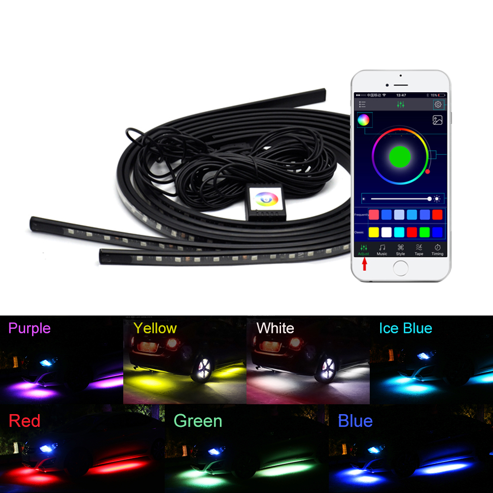 4x Car Underglow Flexible Strip LED APP/Remote Control RGB Decorative Atmosphere Lamp Under Tube Underbody System Neon Light Kit car 8 led underbody colorful decorative light dc 12v
