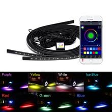 4x автомобиль Underglow Гибкая светодио дный Светодиодная лента приложение/пульт дистанционного управления RGB декоративная атмосфера лампа под трубой система днища неоновый свет комплект