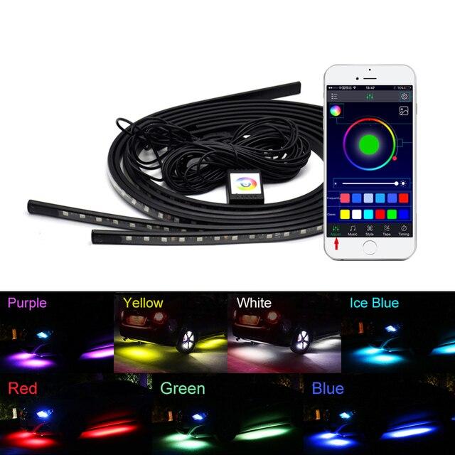 4x LED de bande Flexible de sous éclairage de voiture APP/télécommande lampe datmosphère décorative rvb sous le système de sous corps de Tube Kit de lumière au néon