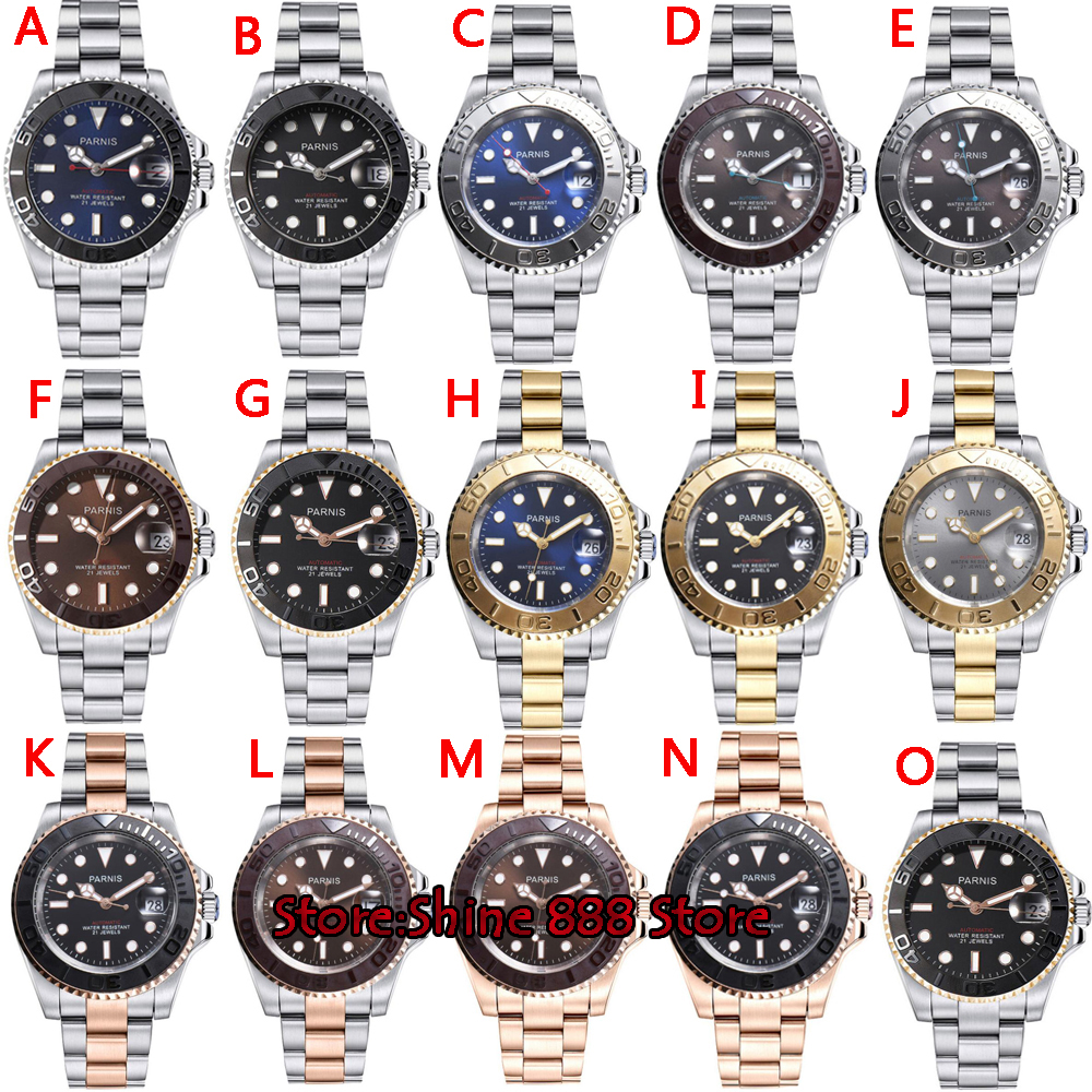 Parnis Automatic Watch Diver Swim Waterproof 21 Jewel Miyota8215 Movement Mechanical Watches with Leather Metal Strap