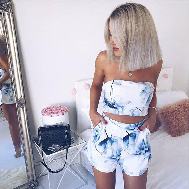 New 2018 Two Piece Fashion Floral Print Summer Playsuit Sexy Strapless Women Romper
