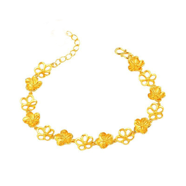 Us 3 67 20 Off Mxgxfam 18 Cm 3 Cm Wedding Jewelry Flowers Bracelet For Bridal Women 24 K Pure Gold Color From Xp In Chain Link Bracelets From