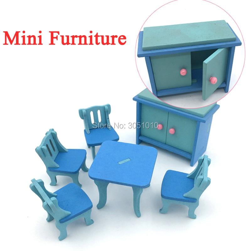 1 Pcs Wooden Doll House Furniture Miniature Kitchen Bed Living Room Restaurant Bedroom Kitchen Bathroom Kid Children Pretend Toy
