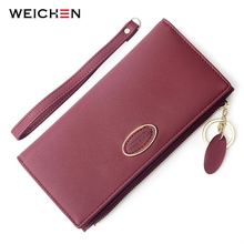 WEICHEN Wristand Wallet Women Geometric Element Long Wallets Female Many Departments Ladies Purse Clutch Carteira Soft Touch