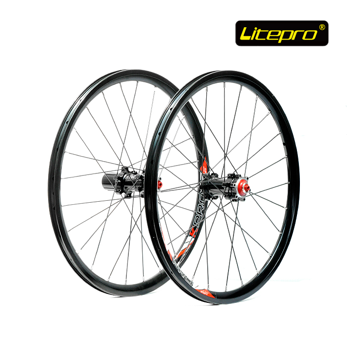 Litepro K-Fun Kpro Straight Pull <font><b>20</b></font> inch 406 <font><b>Wheel</b></font> Set <font><b>BMX</b></font> Folding Bike Disc Brake <font><b>Wheel</b></font> Set Front 24H Rear 24H Bicycle Parts image
