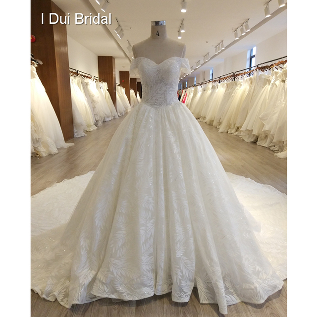 Leaf Lace Sequin Crystal Beaded Wedding Dress Luxury Royal Design ...