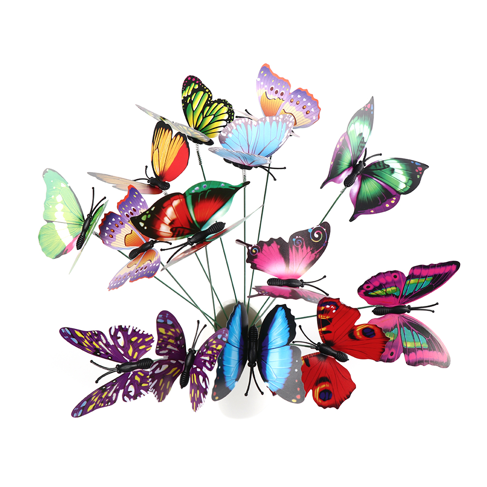 15PCS/Lot Artificial Butterfly Garden Decorations Fake Simulation Butterfly Stakes Yard Plant Lawn Decor Ornaments Random Color