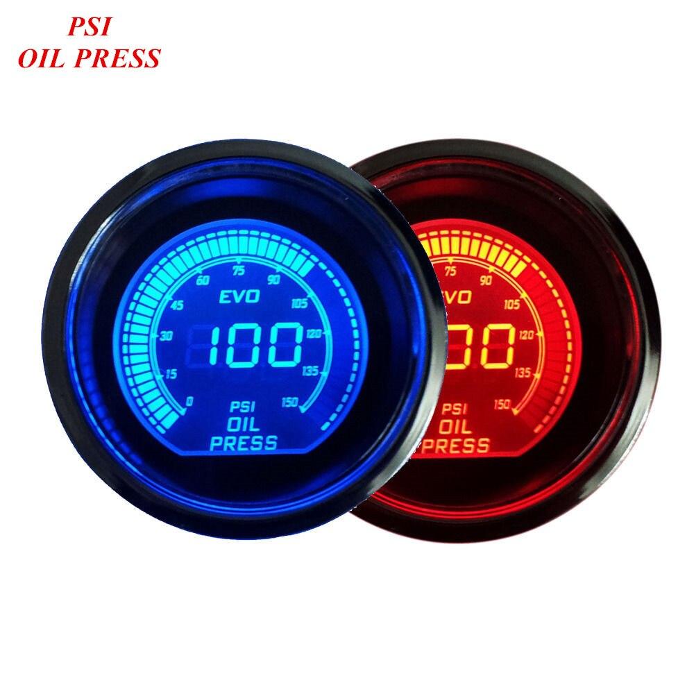 76a260b60ca6 Apoyo EE 2 «52mm Azul Rojo de Luz LED Prensa De Aceite Gauge Medidor De  Presión del Coche Universal Digital Relojes XY01