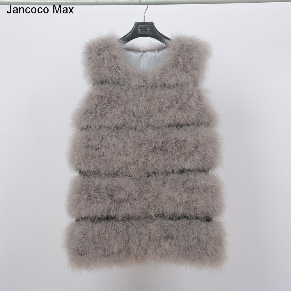 New Vest Real Ostrich Feather Fur Gilet Winter Warm Waistcoat Fashion Women11901