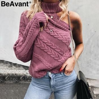 BeAvant un hombro suéter de punto de cuello alto Rosa jersey de giro para mujer Jersey Casual streetwear Otoño Invierno suéter
