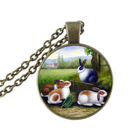 Rabbit Jewelry Animal Necklace Rabbit Eat Radish Picture Jewelry Glass Cabochon Pendants Antique Bronze Chain Neckless