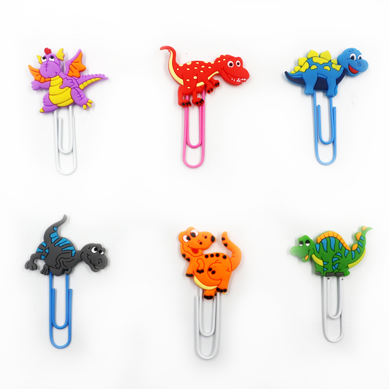 6 Pcs/set Kawaii Mini Animal Dinosaur Shape PVC Metal Clips Paper Bookmark Photo Message Memo Clips Stationery Supply Gifts